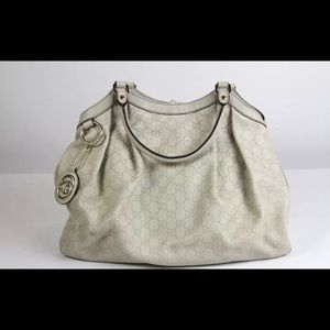 GUCCI Guccissima Medium Sukey Tote Off White